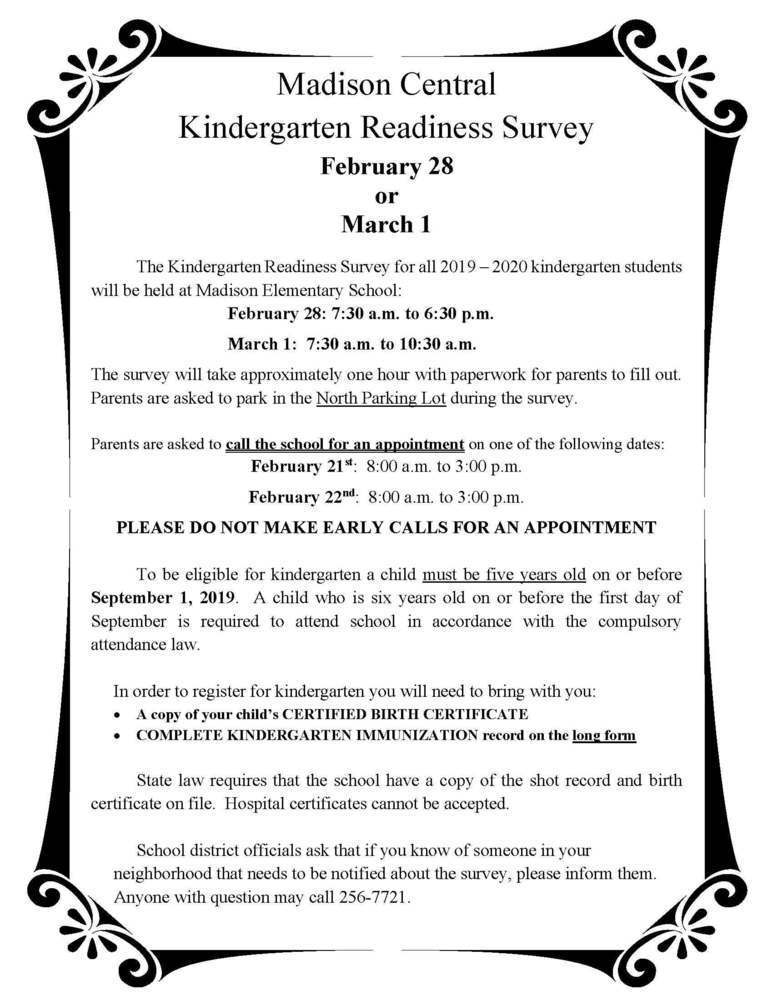 Madison Central Kindergarten Readiness Survey