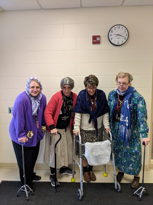 5th grade teachers dressed up for the 100th day of school