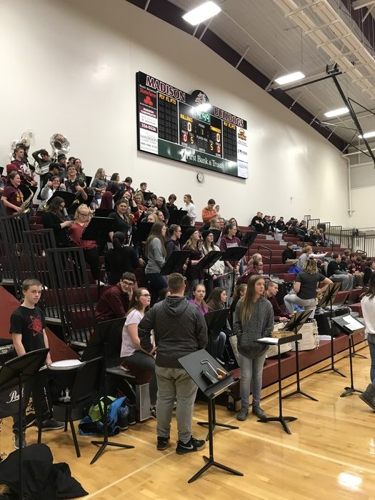 MMS Band playing with MHS pep band